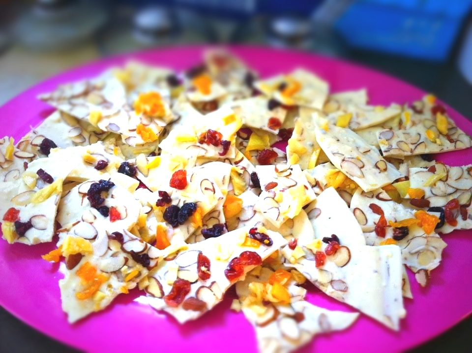 white chocolate, almond, dried mango & cherries, and sea salt bark