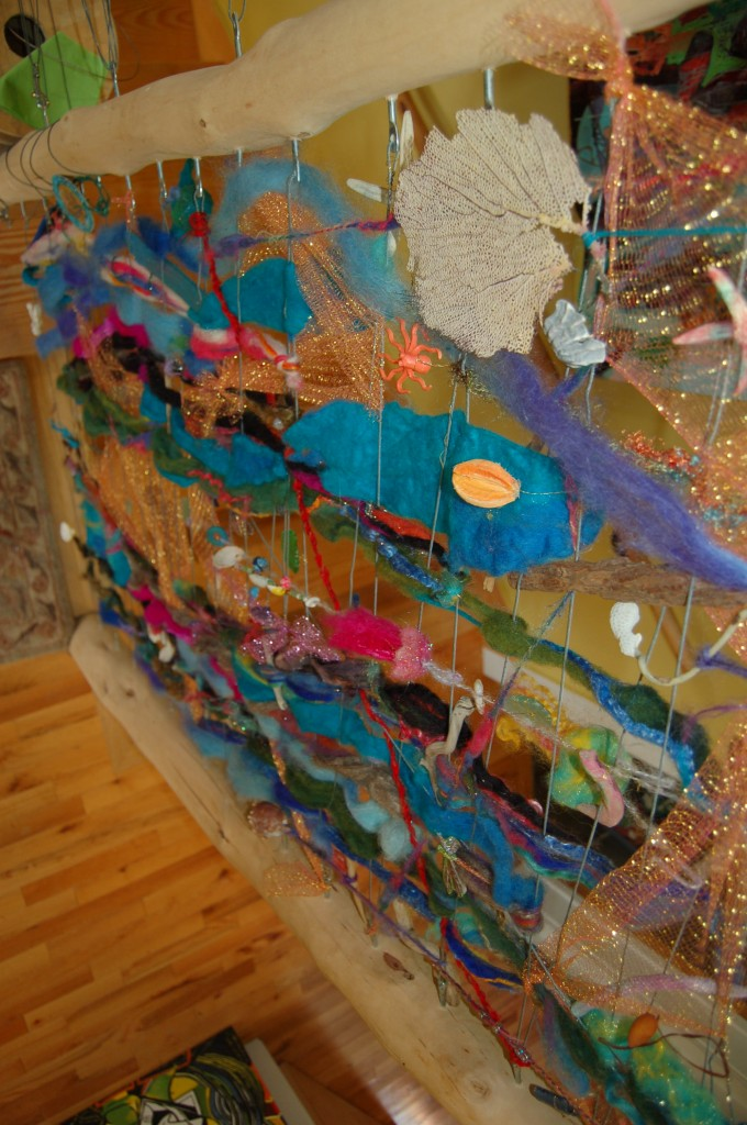 mixed media art installation with all things aquatic