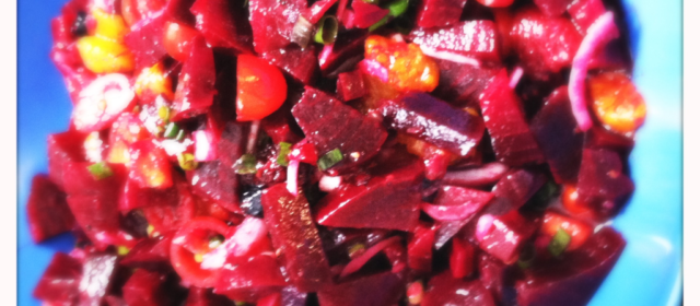 Queen of Sheba beet salad with mango and raspberries and mandarin oranges.. Pretty yummy batch